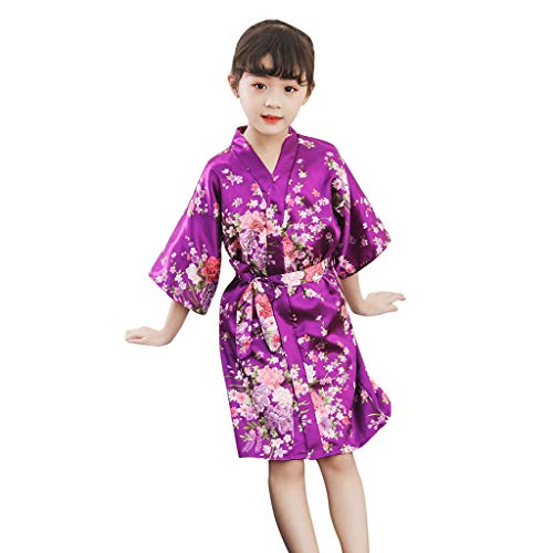 MOMKER Children Girls Silk Robes Satin Robe Short Floral Peacock Japan Kimono Stain Sleepwear Purple]()
