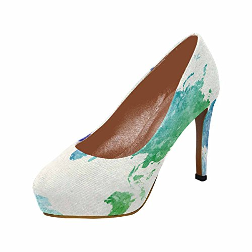 InterestPrint Womens Classic Fashion High Heel Platform Pumps World Map In Watercolor Painting Abstract Splatters Cool 6n0suRz
