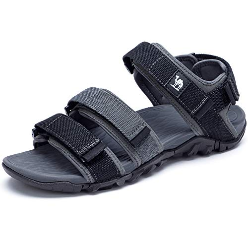 CAMEL Mens Beach Sandals Breathable Mesh Sports Shoes Casual Outdoor Slippers with Adjust Strap Black/Grey