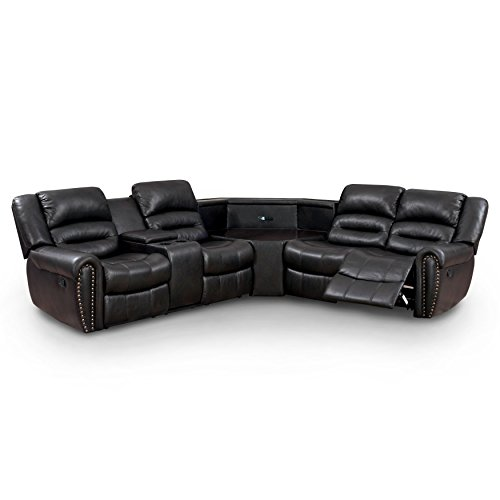 Furniture of America Middleton Sectional 2-Recliner Sofa