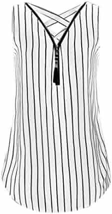 3c502988371 UONQD Woman Women Zipper Sleeveless Casual Vest Top Blouse Ladies Summer  Loose T Shirts Top