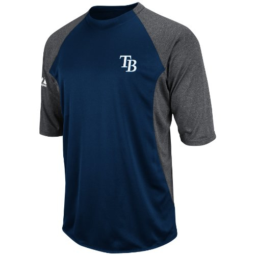 MLB Tampa Bay Rays 3/4 Sleeve Featherweight Tech Fleece Pullover, Navy/Grey, Large