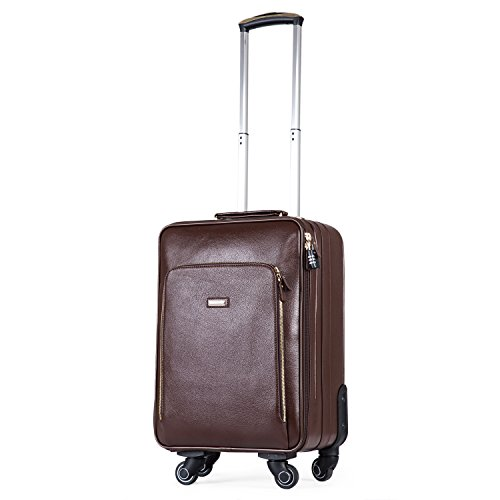 BAIGIO Trolley Suitcase Genuine Leather 20 Inch Vintage Travel Luggage 4 Wheels Spinner Carry-on (Brown)