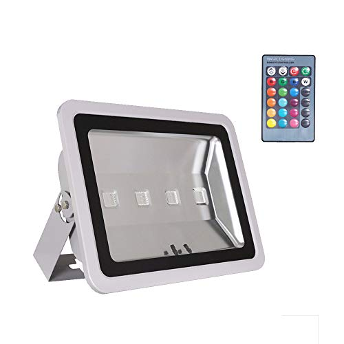 Park Outdoor Lighting - WEDO 200W RGB Led Flood Light IP66 Waterproof Gray Shell 16 Colors Change 4 Modes with Remote Control Wall Wash Light Security Light for Outdoor Garden Landscape Yard Car Park(Plug is not Included)