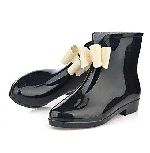 Shoes Half Wellies Leather Waterproof Black LvRao Boots High Women's Heel Rain Wellington Booties Rubber nxPnAT07wq