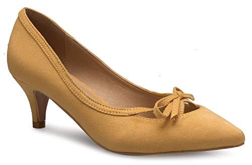 Heel Bow Pump - OLIVIA K Women¡¯s Classic Closed Toe D'Orsay Bow Kitten Heel Pump | Dress, Work, Party Mid Heeled Pumps