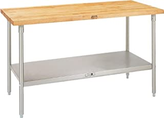 """product image for John Boos TNS18 Maple Top Work Table with Stainless Steel Base and Adjustable Stainless Steel Lower Shelf, 120"""" Long x 36"""" Wide x 2-1/4"""" Thick"""