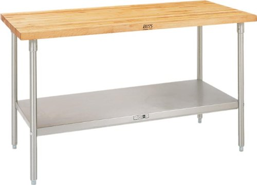 36 x 24 x 2-1//4 John Boos TNS01 Maple Top Work Table with Stainless Steel Base and Shelf