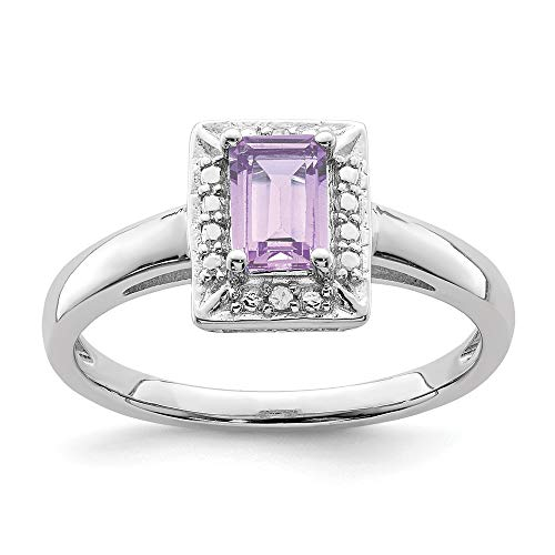 925 Sterling Silver Pink Quartz Diamond Band Ring Size 9.00 Gemstone Fine Jewelry Gifts For Women For Her
