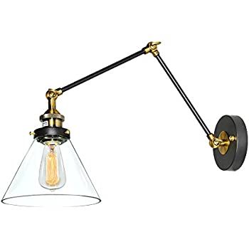 LNC Plug In Wall Lamp Adjustable Wall Sconces Clear Glass Swing Arm Sconces Wall  Lighting