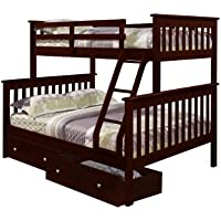 Bunk Bed Twin over Full Mission Style in Cappuccino with Drawers