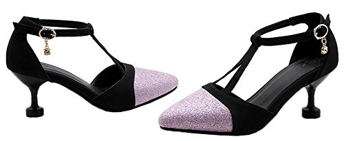 AmoonyFashion Womens Buckle Pointed Toe Kitten Heel Assorted Color Pumps-Shoes Purple en26A1