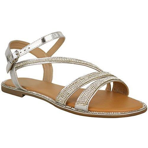 Plano Mujer Diamante Sandalias de verano De Tiras Playa Zapatos De Gladiador Tamaño RU Plata Metálico/pedrería