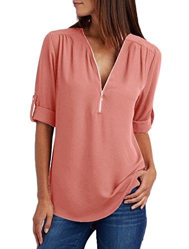 Sexy Moda Taglie Maglietta Profondit Sciolto Simple Blusa Tinta Camicie fashion Donna Chiffon Forti Unita BvRca7H