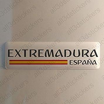 Pegatina Extremadura España Resina, Pegatina Relieve 3D Bandera Extremadura España 120x30mm Adhesivo Vinilo: Amazon.es: Coche y moto