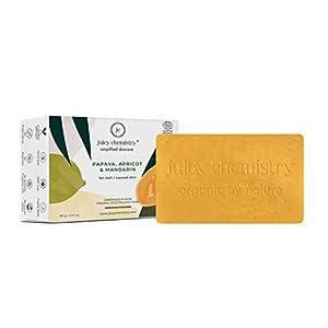 Juicy Chemistry Organic Bath Soap, Natural Tan Removal Bathing Soap, 100gms Papaya, Apricot & Mandarin Cleansing Soap…