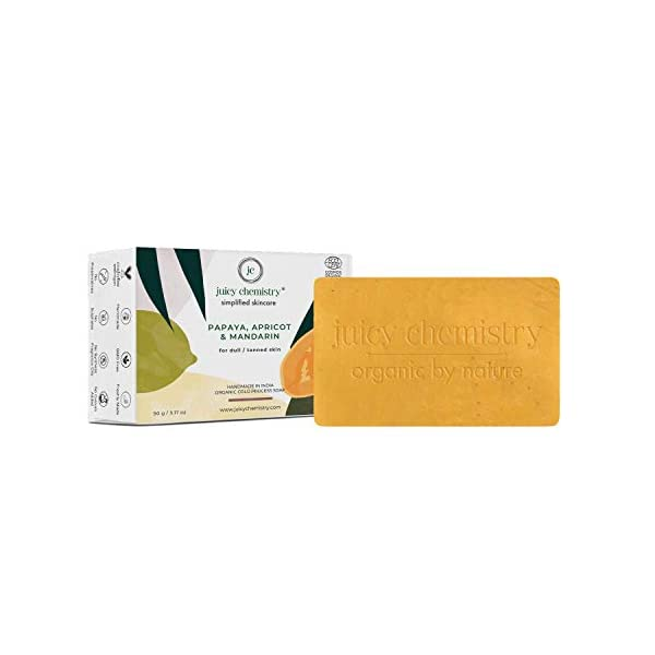 Juicy Chemistry Organic Bath Soap, Natural Tan Removal Bathing Soap, 100gms Papaya, Apricot & Mandarin Cleansing Soap… 2021 July Quantity: 90 gm Target Audience: Unisex; Color: Yellow Item Form: Solid
