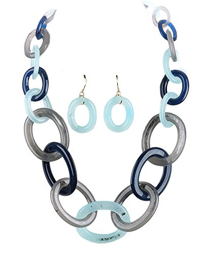 Fashion Jewelry ~ Multi Color Lucite Chunky Links Chain Necklace and Earrings Set (Chunky Lucite Necklace)