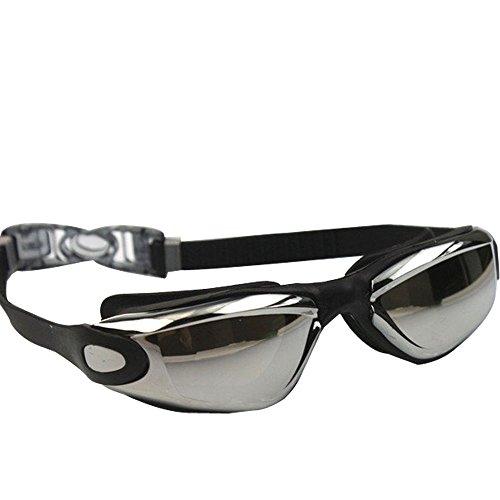 SUPOW(TM) Newest Adjustable Colorful Adult Waterproof Electroplating Anti-fogging Anti UV Protection Swimming Dive Glasses Eyeglasses Eyecup Eyewear Swimming Goggles for Men Women (Black)
