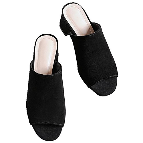 DecoStain Women's Ladies Peep Toe Mid Block Heel Mule Open Back Slider Sandals Size Black KMCRw8