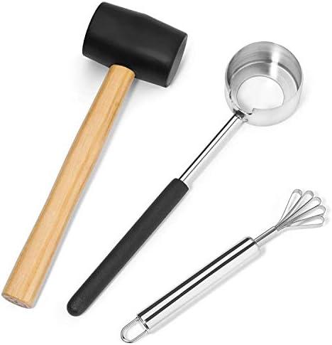 JVSISM ハンマー&ステンレス鋼のナイフで肉を除去するためのココナッツツールによる若い&成熟したココナッツのためのココナッツオープナーセット|プレミアム調理器具、使いやすく快適