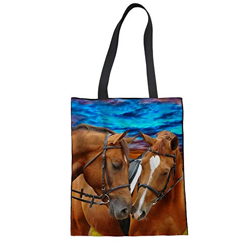 - Upetstory Large Heavy Canvas Couple Horse Tote Bags, Washable Grocery Shoulder Bag for Shopping Travel School Work