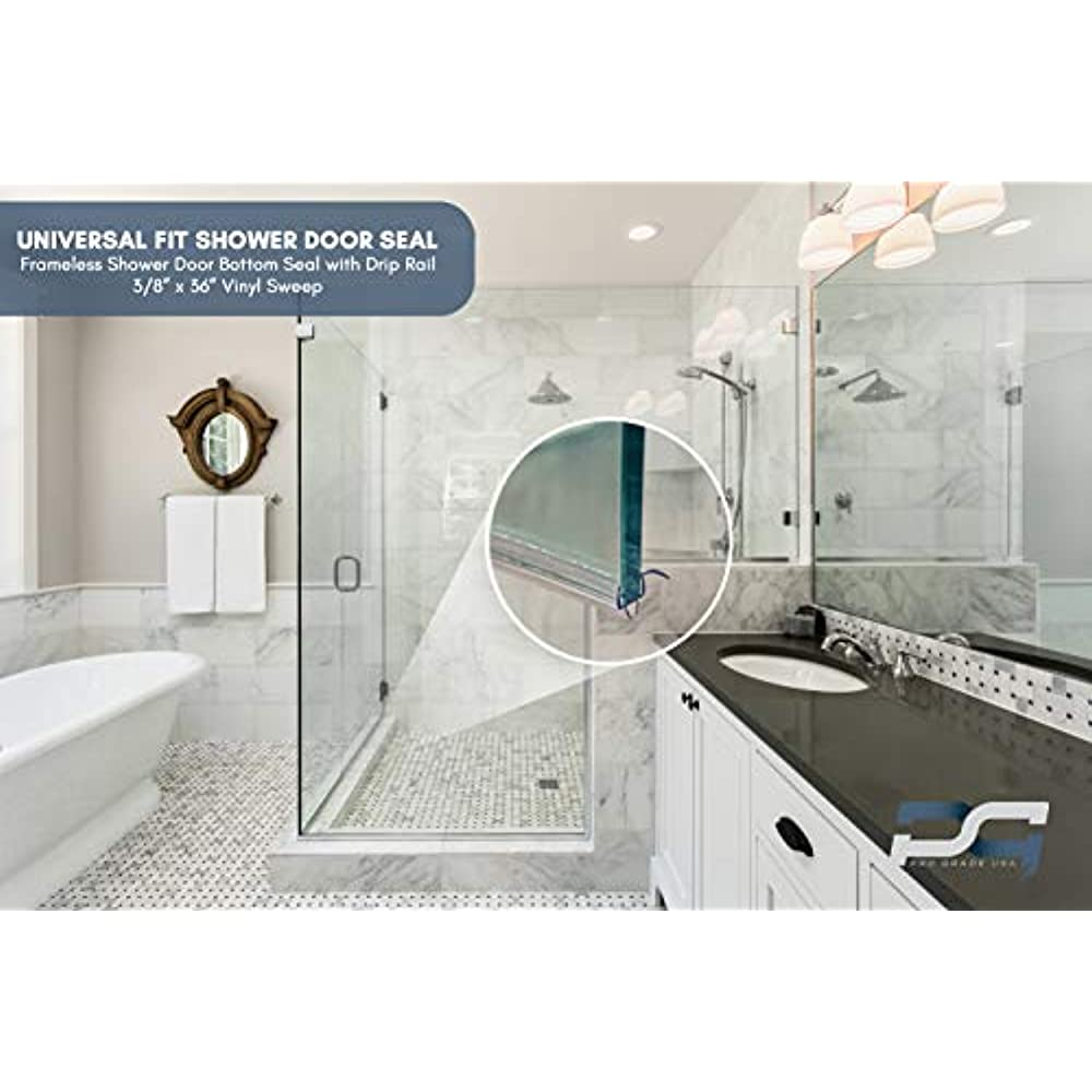 """3//8/'/' Sweep Bottom Seal Wipe with Drip Rail 36/"""" for Frameless Shower Door"""