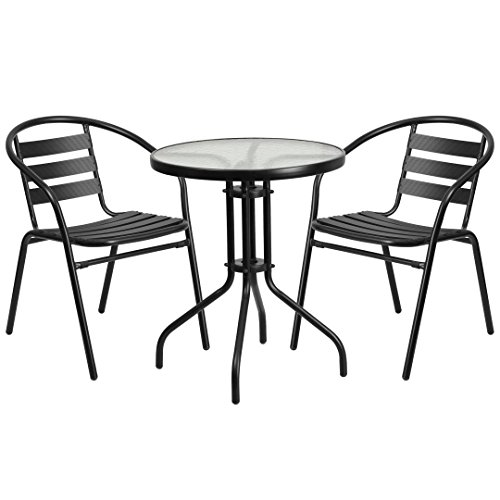 MFO 23.75'' Round Glass Metal Table with 2 Black Metal Aluminum Slat Stack Chairs