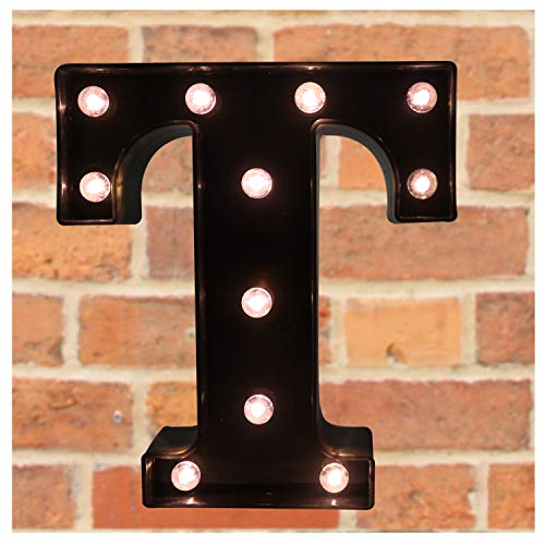 Pooqla Decorative LED Illuminated Letter Marquee Sign - Alphabet Marquee Letters with Lights for Wedding Birthday Party Christmas Night Light Lamp Home Bar Decoration T, Black