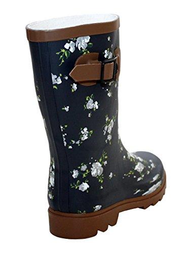 A&H Footwear  Katrina,  Mädchen Damen Arbeits-Gummistiefel Navy/Brown Flowers