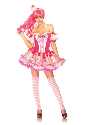 Best Halloween Costumes For 3 People (Leg Avenue Women's 3 Piece Halter Dress with Cupcake Arm Puffs, Pink, X-Small)