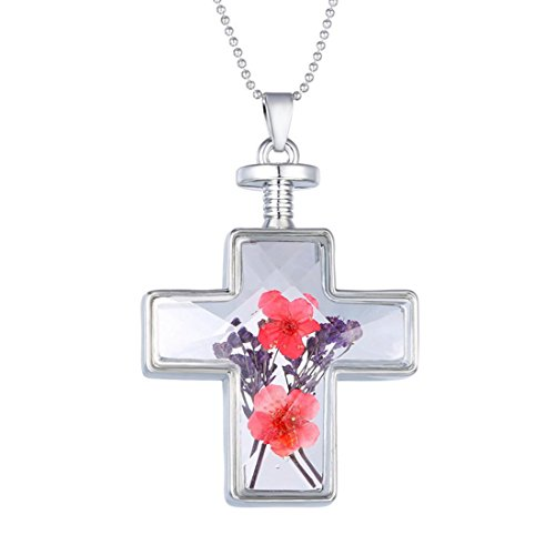 SAILING Sliver Beads Chain Necklace Glass Alloy Cross Shaped Loket Pendant Artificial Lavender Red Flower Floating