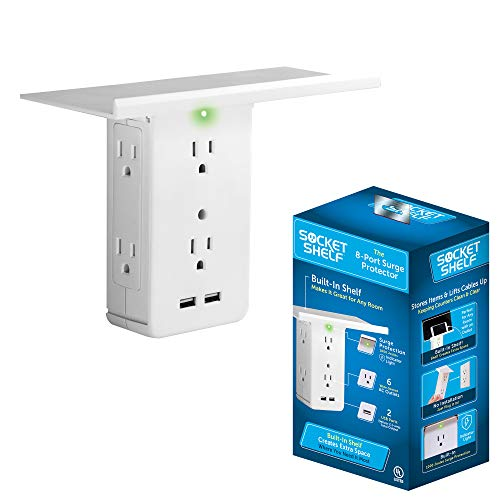 (Socket Shelf- 8 Port Surge Protector Wall Outlet, 6 Electrical Outlet Extenders, 2 USB Charging Ports & Removable Built-In Shelf UL Listed)