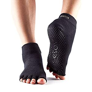 ToeSox Grip Pilates Barre Socks - Non Slip Ankle Half Toe for Yoga & Ballet