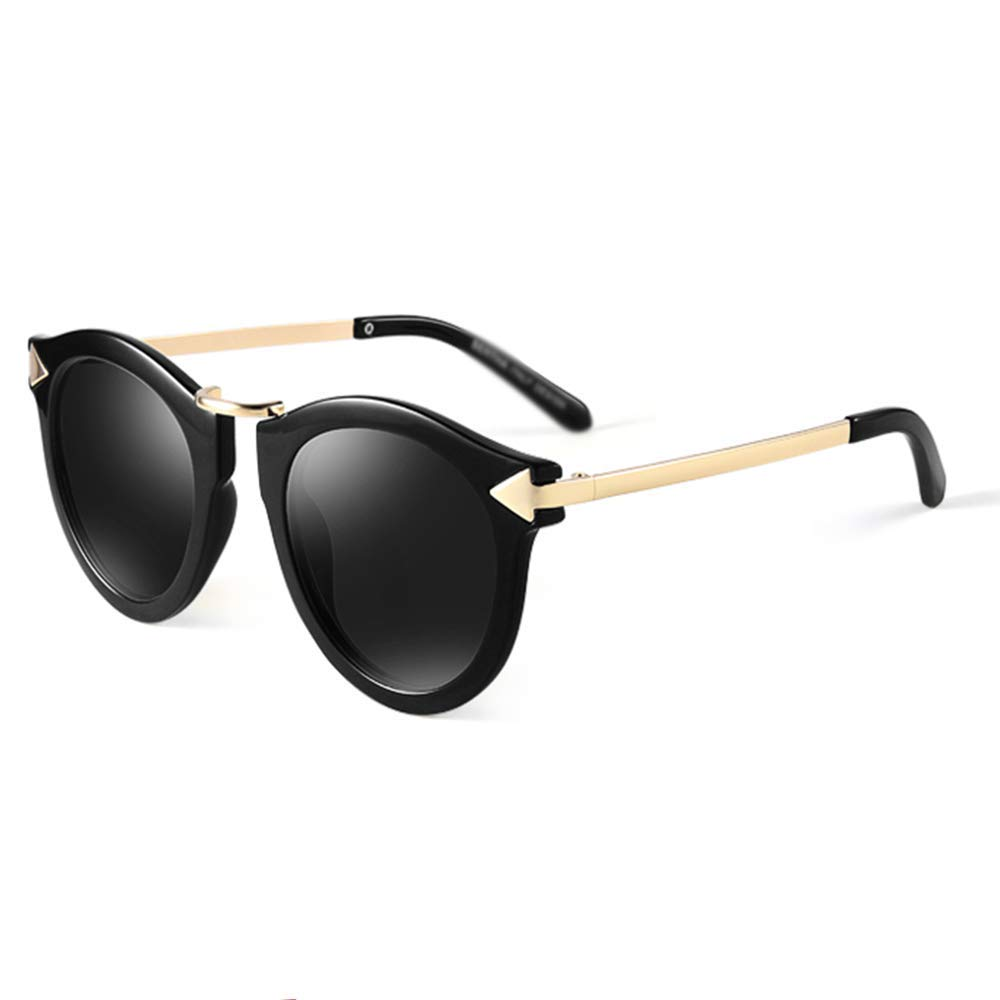 Bright black XINGZHE Sunglasses  Polarized, Large Frame, Trendy Personality, Ladies Driving Street Shooting, Travel, Outdoor Sports, 5 colors to Choose from Sunglasses (color   color Glass)