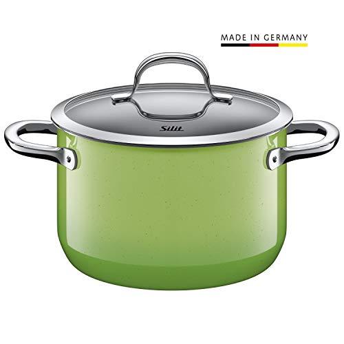 Silit Passion Green Koch/- Fleischtopf, hoch, 20cm, Glasdeckel, 3,7l, Silargan Funktionskeramik, Topf Induktion, grün