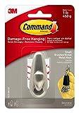 Command Metal Hook, 1 lb Capacity, Brushed Nickel
