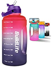 BuildLife Half Gallon Water Bottle - BPA Free Leakproof Water Jug Gradient Motivational Time Marker with Straw & Phone Holder Handle to Remind You Drink More Water