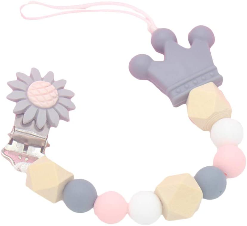 Uyuke Silicone Baby Pacifier Clip Colorful Pacifier Chain for Baby Teething Soother Chew Toy
