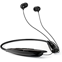 Phaiser BHS-950 Bluetooth Headphones with Charging Case, Retractable Neckband Earbuds with Microphone, Wirefree Sweatproof Inear Earphones, Wireless Portable Cordless Stereo Headset, Blackout