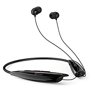 Phaiser BHS-950 Bluetooth Headphones, Retractable Neckband Earbuds with Microphone, Wireless Sweatproof Inear Earphones, Portable Cordless Stereo Headset, Blackout