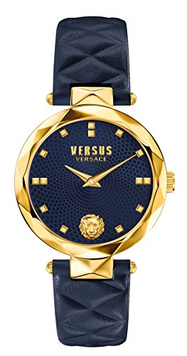 Versus by Versace Women's 'COVENT GARDEN' Quartz Stainless Steel and Leather Casual Watch, Color:Blue (Model: SCD030016)