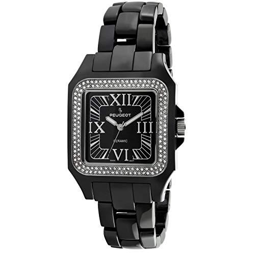 (Peugeot Swiss Women Genuine Ceramic Watch with Swarovski Crystal Bezel)