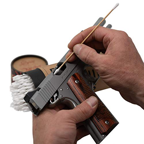 "Firearm Cleaning SWABS by Sage & Braker, Made in The USA, 6"" Wood and Cotton Gun Cleaning Swabs for Cleaning All The Hard to Reach Areas of Your Firearm."