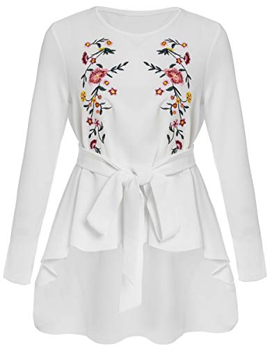 Romwe Women's Raw Hem Long Sleeve Embroidered Floral Belted Flare Peplum Blouse Shirts Top White ()