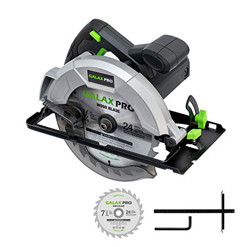 Circular Saw, GALAX PRO 10A 5800RPM Hand-Held Circular Saw Bevel Angle(0-45°) Joint Cuts with 7-1/4Inch Blade, Adjustable Cutting Depth (1-5/8″~2-1/2″) for Wood and Logs Cutting-GP76331