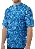 Aqua Design Men Loose Fit Rash Guard Surf Swim Sun Protection Clothing Rashguard Royal Ripple Large