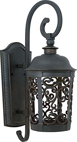 Maxim 86394BZ Whisper Dark Sky EE 1-Light Outdoor Wall Lantern, Bronze Finish, Glass, GU24 Fluorescent Fluorescent Bulb , 13W Max., Damp Safety Rating, 2700K Color Temp, Glass Shade Material, 1800 Rated Lumens