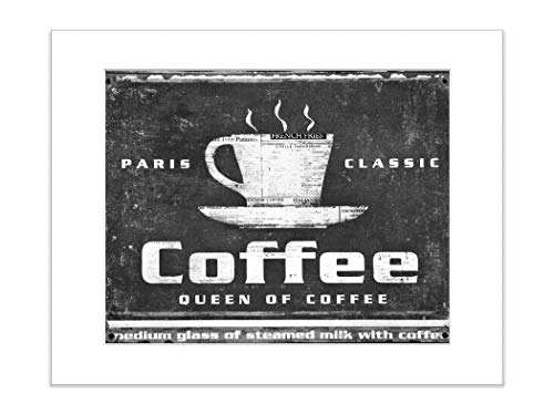 Vintage Coffee Ad Paris Classic Sign Black and White Kitchen Print 5x7 Inch Matted Photo