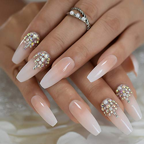 Luxury Coffin Nails with AB Rhinestones Ombre French Nail with Stones Long False Nails Natural Color Designed
